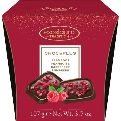 Excelcium Choc&Plus Étcsokoládé Málna darabokkal 107g