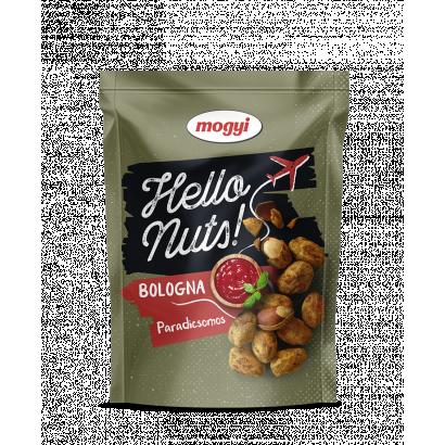 Mogyi Hello Nuts! Bologna paradicsomos, csicseriborsós tésztabundában pörkölt földimogyoró 100 g
