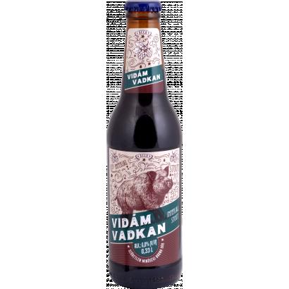 Auchan Nívó Vidám Vadkan imperial stout szűretlen minőségi barna sör. Alk.: 6,0%  330 ml