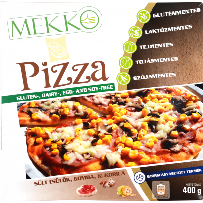 Mekko Pizza with fried knuckle, mushrooms and corn 400G