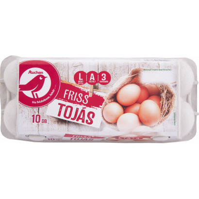 Auchan Nívó 10 db Friss tojás L méret 630 g