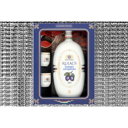 Várda Distillery Szatmári szilvapálinka Hollóházi porcelán kulacsban 2 pohárral 40% 0,5 l