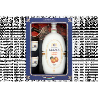 Várda Distillery Ó-barack pálinka Hollóházi porcelán kulacsban 2 pohárral 40% 0,5 l
