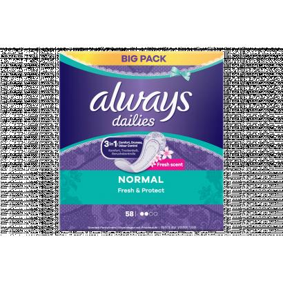 Always Dailies Normal Fresh Protect  Tisztasági Betét, 58 db