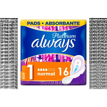 Always Platinum Normal (1-es Méret) Szárnyas Egészségügyi Betét, 16 db