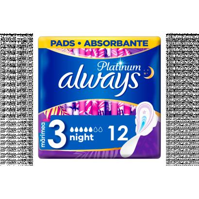 Always Platinum Night (3-Es Méret) Szárnyas Egészségügyi Betét, 12 db