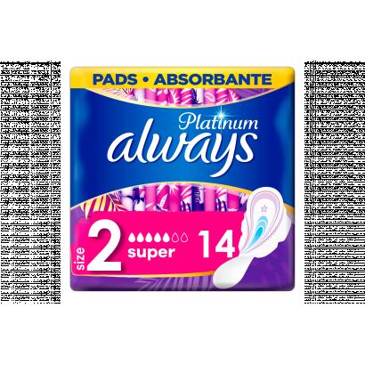 Always Platinum Super (2-es Méret) Szárnyas Egészségügyi Betét, 14 db