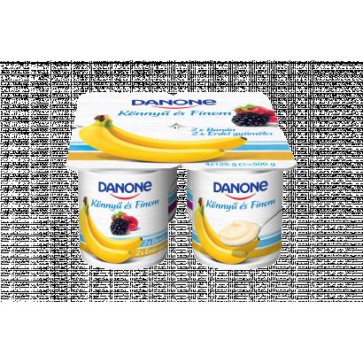 Danone banánízű és erdei gyümölcsízű, élőflórás, zsírszegény joghurt 4 x 125 g
