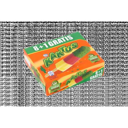 Kaktus citrom ízű vizes jégkrém és epres szorbé zöld bevonóval 9 db 405 ml